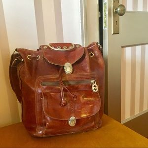 Vintage Mario Orlandi Leather Bucket Bag